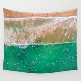 Surfers Paddling Out Wall Tapestry