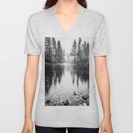 Forest Reflection Lake - Black and White  - Nature Photography Unisex V-Neck