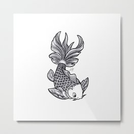 Fish handmade Drawing, Made in pencil, charcoal and ink, Tattoo Sketch, Tattoo Flash, Carp Koi Metal Print