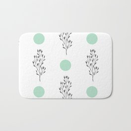 Black brunches & green dots pattern Bath Mat