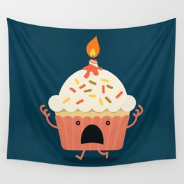 Cupcake on fire Wall Tapestry