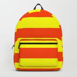 Bright Neon Orange and Yellow Horizontal Cabana Tent Stripes Backpack