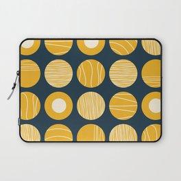 Kugeln - Minimalist Decorated Dot Pattern in Mustard Yellow and Navy Blue Laptop Sleeve
