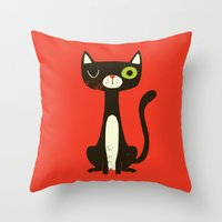 black cat Throw Pillows featuring Black Cat by Monster Riot