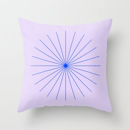 SpikeyBurst - Pastel Lilac / Purple with Blue Throw Pillow
