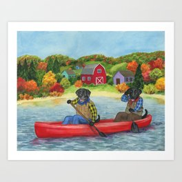 Black Labs in a canoe. New England lanscape. Outdoors art. Gift for labrador owner Art Print