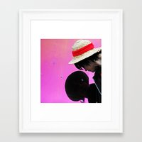 luffy Framed Art Prints featuring luffy by Ariana Buck