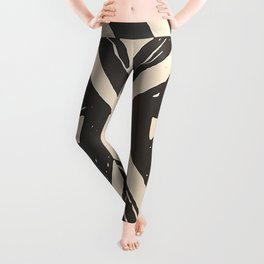 Tropical Tribal Black and White Pattern Leggings