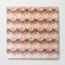 Modern red pink coral watercolor floral stripes Metal Print