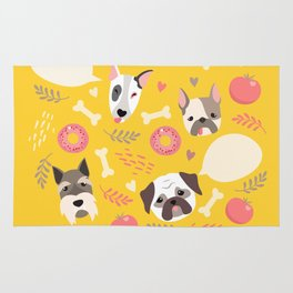 Cute dog illustration color card with cloud place for your text Rug