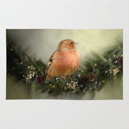 Little Bird in Christmas Wreath Rug