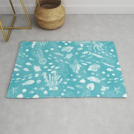 Watercolor Seascape in Light Teal Rug