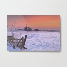 Typical Dutch landscape with windmill in winter at sunrise Metal Print