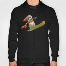 Funny Mr. Penguin riding snowboard Hoody