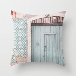 The mint door Throw Pillow