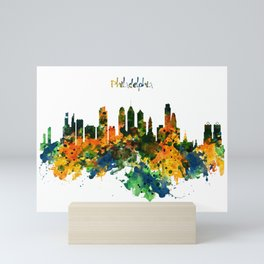 Philadelphia Watercolor Skyline Mini Art Print