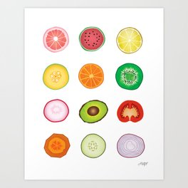 Fruits and Vegetables Collage Art Print