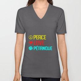 Petanque Peace Love Boules Sports Bocce Lawn Game Unisex V-Neck