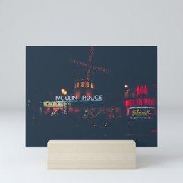Moulin   Rouge   Paris at night #1 Mini Art Print