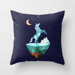 unicorn in the universe Throw Pillow