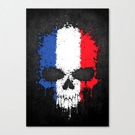 Flag of France on a Chaotic Splatter Skull Canvas Print