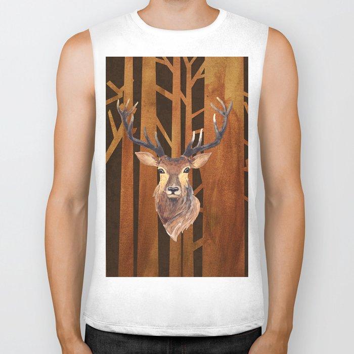Proud deer in forest 1- Watercolor illustration Biker Tank