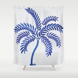 Cobalt Silhouette - Blue Palm Shower Curtain
