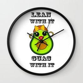 Lean with it Guac with it Kawaii Avocado Wall Clock