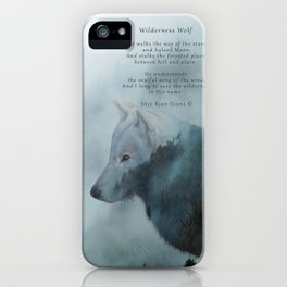 Wilderness Wolf & Poem iPhone Case