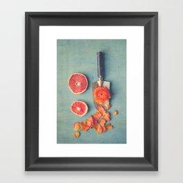 Grapefruit and Flowers Framed Art Print