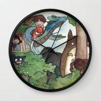 studio ghibli Wall Clocks featuring Studio Ghibli Crossover by malipi