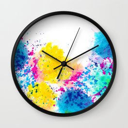 Blue Yellow Abstract Watercolor Neon Pink Splatter Wall Clock