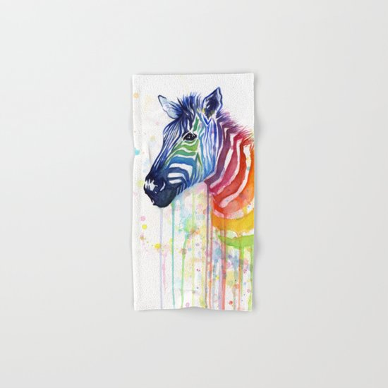 Zebra Watercolor Rainbow Animal Painting Ode to Fruit Stripes Hand & Bath Towel