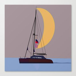 Boat in the middle of the night Canvas Print