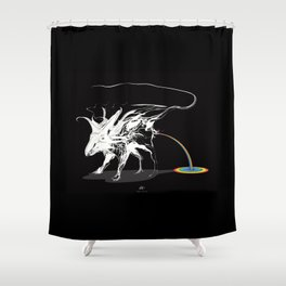 Rat and rainbow. White on dark on background - (Red eyes series) Shower Curtain