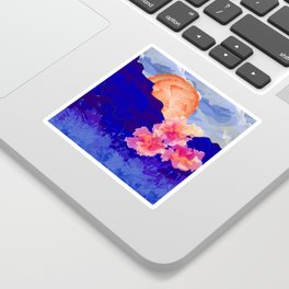 Vibrant Watercolor Mountains, Sunny, Flower Nature Abstract Art Mid-century Retro and Mindful vibes Sticker
