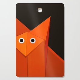 Dark Geometric Cute Origami Fox Cutting Board