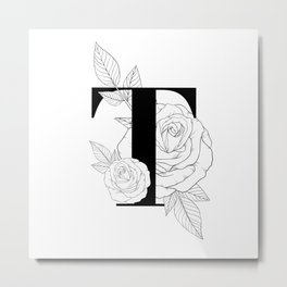 Monogram Letter T with Rose Line Art  Metal Print