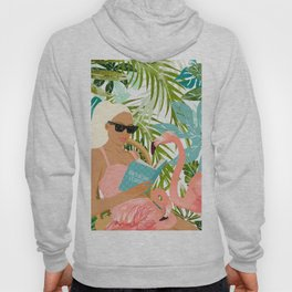 How To Become a Flamingo Illustration, Human Nature Connection, Woman Fashion Travel Hoody