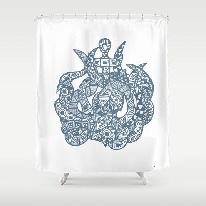 Kraken The Sea Monster Shower Curtain