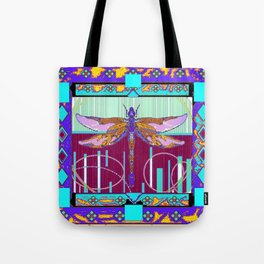 Western Dragonfly Purple-Turquoise Art abstract Tote Bag