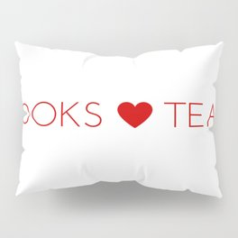 Books Love Tea Red Lettering with Red Heart Pillow Sham