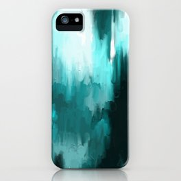 Ocean Water - an Aqua Blue Abstract painting with White iPhone Case