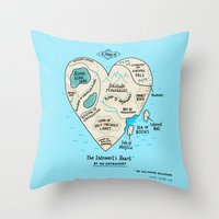 map Throw Pillows featuring A Map of the Introvert's Heart by gemma correll