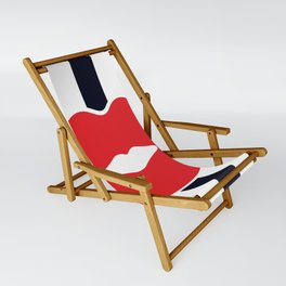 Red Lips with Stripes Sling Chair