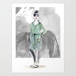 Woman in Green Coat Art Print