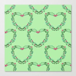 Heart Wreath Hand-painted in Green Ferns and Pink Blossoms on Mint Green Canvas Print