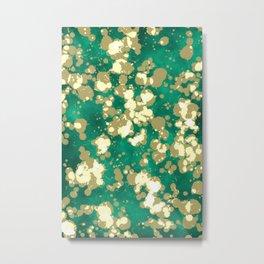 Golden Green Splash Metal Print