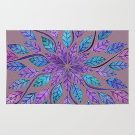 Leaf Mandala - Jewel Tones on Gray Rug