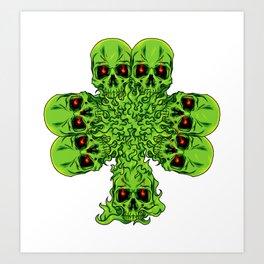 Skull Cloverleaf - St. Patrick's Day Art Print